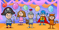 Children at fancy ball cartoon illustration of cute little in costumes on Royalty Free Stock Images
