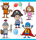 Children in fancy ball costumes set cartoon illustration of cute characters Royalty Free Stock Image