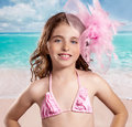 Children fashion girl in tropical turquoise beach vacations with pink style vintage color Stock Images