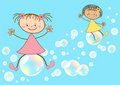 Children fly on soap bubbles. Stock Image