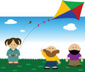 Children flying a Kite Royalty Free Stock Photography