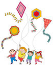 Children Flying Kites Royalty Free Stock Images
