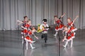 Children in folk costume performs on stage moscow apr district competition crystal droplet april moscow russia Stock Photography