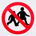 Children forbidden sign with a simple symbol forbidding Royalty Free Stock Photo