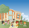 Children in front of school group happy cartoon Stock Images