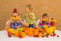 Children and fruits playing eating various lovely bananas oranges apples grapefruit strawberries pomelo Stock Image
