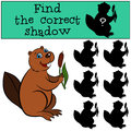 Children games: Find the correct shadow. Cute little beaver. Royalty Free Stock Photo