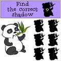 Children games: Find the correct shadow. Little cute panda. Royalty Free Stock Photo
