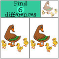 Children games find differences mother duck with little cute ducklings three Royalty Free Stock Photo