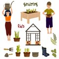 Children gardening, green house, plants, vegetables and kids isolated set, boy and girl caring for sprouts, hobby