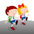 Children go to school back boy and girl together cartoon illustration Royalty Free Stock Photography