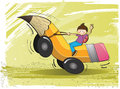 Children go to school illustration the boy and riding a pencil bus vector file Royalty Free Stock Photography