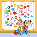 Children go to school the illustration shows funny boy and girl they with portfolios against the background the attributes and Royalty Free Stock Photos