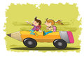 Children go to school vector illustration of girl and boy and riding a pencil bus Royalty Free Stock Images
