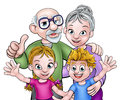 Children and Grandparents Cartoon Characters