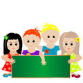Children with green banner Royalty Free Stock Photos