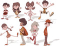 Children group of cartoon young people Stock Photo