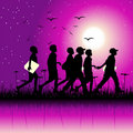 Children group on nature Royalty Free Stock Images