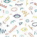 Children hand drawn seamless pattern.