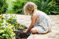 Children hands around green young flower plant. Royalty Free Stock Photo