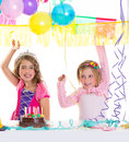 Children happy birthday party girls with balloons Stock Photo