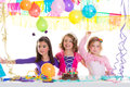 Children happy birthday party girls group Royalty Free Stock Images