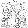 Children harvesting apples coloring book page