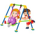 The children have fun playing swings