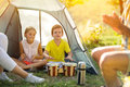 Children having fun playing in the tent Royalty Free Stock Photo
