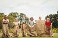 Children having a sack race Royalty Free Stock Photo