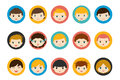 Children heads, avatar. Color flat vector.