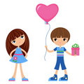 Children with heart-balloon Royalty Free Stock Photography
