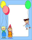 Children hold balloons vector Royalty Free Stock Photography