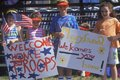 Children Holding �Welcome Home� Signs, Desert Storm Victory Parade, Washington, D.C. Royalty Free Stock Photo