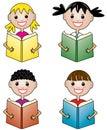 Children holding books Royalty Free Stock Photo