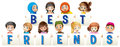 Children holding sign for best friends Royalty Free Stock Photo