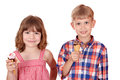 Children with ice cream happy Royalty Free Stock Photos