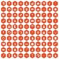 100 children icons hexagon orange