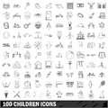 100 children icons set, outline style