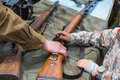 Children inspect weapons vladivostok russia may since world war ii during festivities devoted to victory day Stock Images