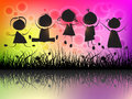 Children jumping silhouettes on colorful background Royalty Free Stock Photo
