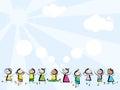 Children jumping on sky background