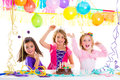 Children kid in birthday party dancing happy laughing Royalty Free Stock Photo