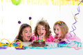 Children kid girls birthday party look excited chocolate cake Royalty Free Stock Photo