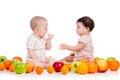 Children kids eating fruits