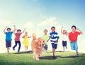 Children Kids Fun Summer Pet Dog Friendship Concept Royalty Free Stock Photo