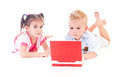 Children with  laptop Stock Images