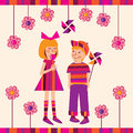 Children with a lollipop illustration small Royalty Free Stock Photo