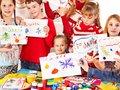 Children making card. Royalty Free Stock Image