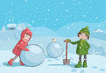 Children making snowman in the morning illustration of winter Stock Photos